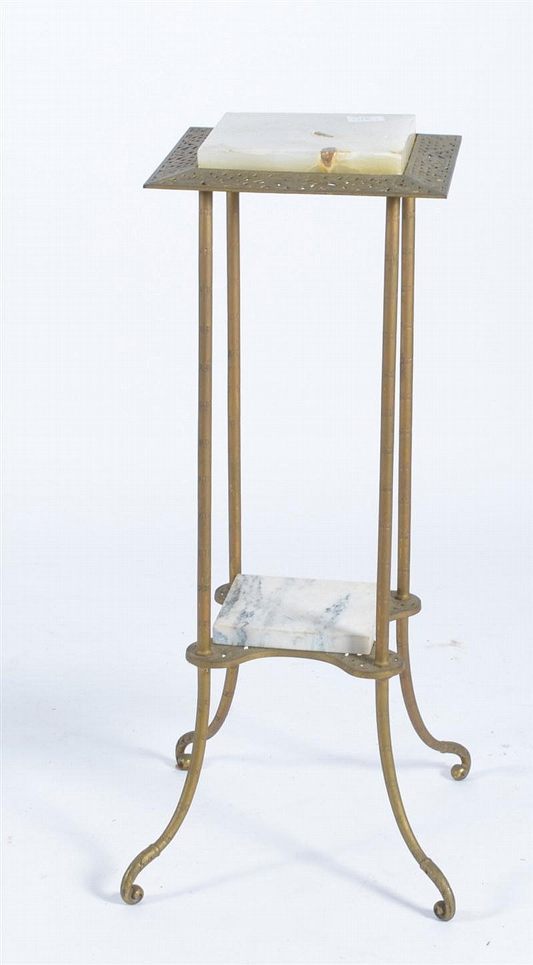 ALABASTER AND GILT-METAL LAMP STAND with pierced lattice design. Top 12