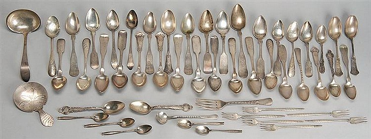 FIFTY-ONE PIECES OF SILVER FLATWARE: Thirty assorted sterling silver pieces and twenty-one coin silver spoons . Total weight approx....
