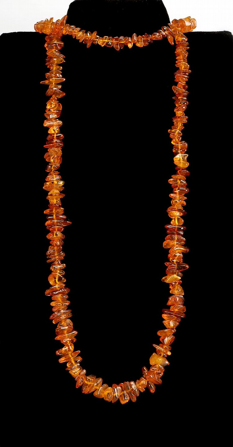 AMBER BEAD NECKLACE with Baroque beads. Length 30