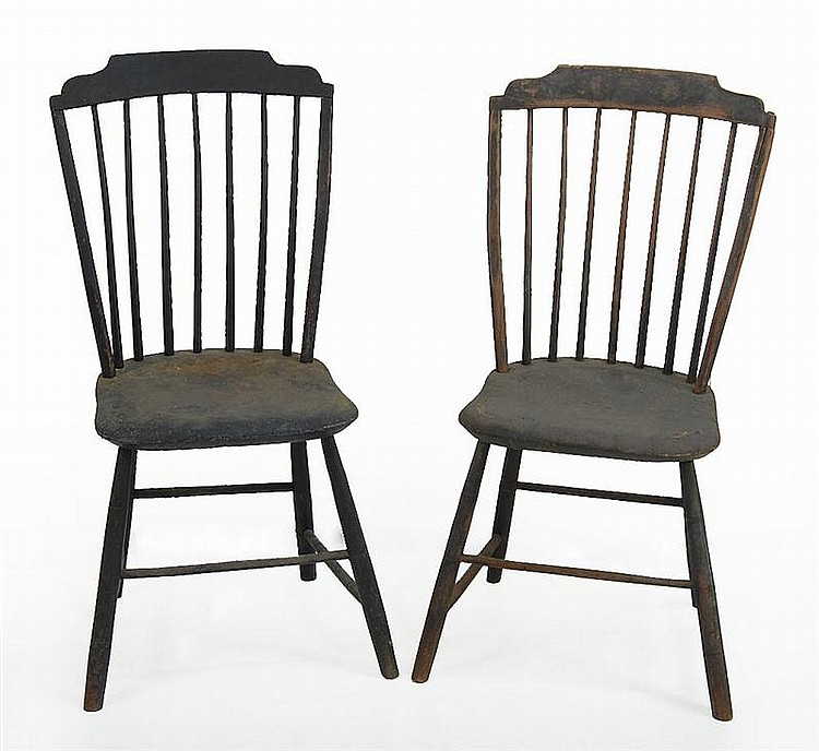PAIR OF CIRCA 1820 WINDSOR STEP-DOWN SIDE CHAIRS in original black paint.