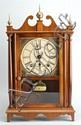 SETH THOMAS HALF-SIZE PILLAR & SCROLL CLOCK in mahogany case. Signed dial. Height 16¾