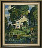 AMERICAN SCHOOL, 20th Century, Landscape with house and figures by a lake., Oil on board, 24