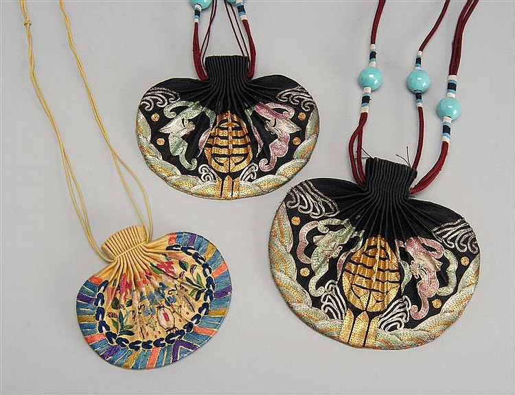 THREE NEEDLEWORK PURSE-FORM SNUFF BOTTLE HOLDERS Two with bat and shou design and one in lantern and flower design.