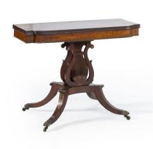 FEDERAL CARD TABLE ATTRIBUTED TO CHARLES-HONORÉ LANNUIER In mahogany and mahogany and bird's-eye maple veneer. Beautiful select grai..