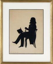 AUGUSTE EDOUART, Louisiana/France, 1789-1861, Cut paper silhouette of a seated man with top hat and cane., 9