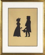 CUT PAPER SILHOUETTE OF A STANDING MAN AND WOMAN Woman holding a flower and man holding a top hat. Letter affixed verso identifies t...