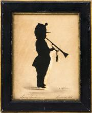 WILLIAM HENRY BROWN, South Carolina, 1808-1883, Cut paper silhouette of a young boy blowing a trumpet., 6.5