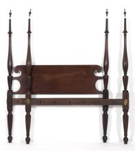 SHERATON TESTER BED Attributed to Jacob Foster of Charlestown, Massachusetts. In mahogany. Headboard with delicate turned posts. Foo...