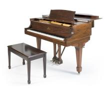 STEINWAY BABY GRAND PIANO Model L, Serial #233325. Mahogany finish. Refinished and refurbished. Great action and warm tone. Includes...