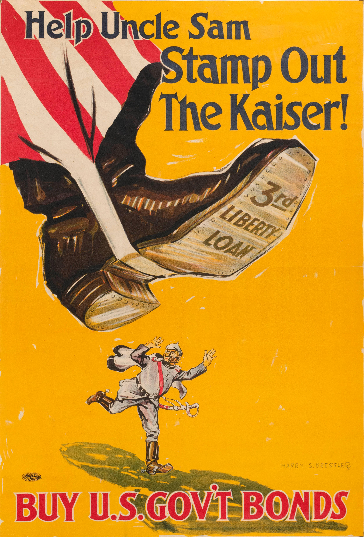 """HELP UNCLE SAM STAMP OUT THE KAISER! BUY U.S. GOV'T BONDS"" WORLD WAR I POSTER By Harry S. Bressler for the Third Liberty Loan. Depi.."