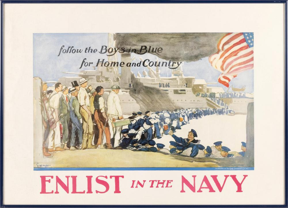 """""""ENLIST IN THE NAVY FOLLOW THE BOYS IN BLUE FOR HOME AND COUNTRY"""" By George Hand Wright for the U.S. Navy Publicity Bureau, colorpla..."""