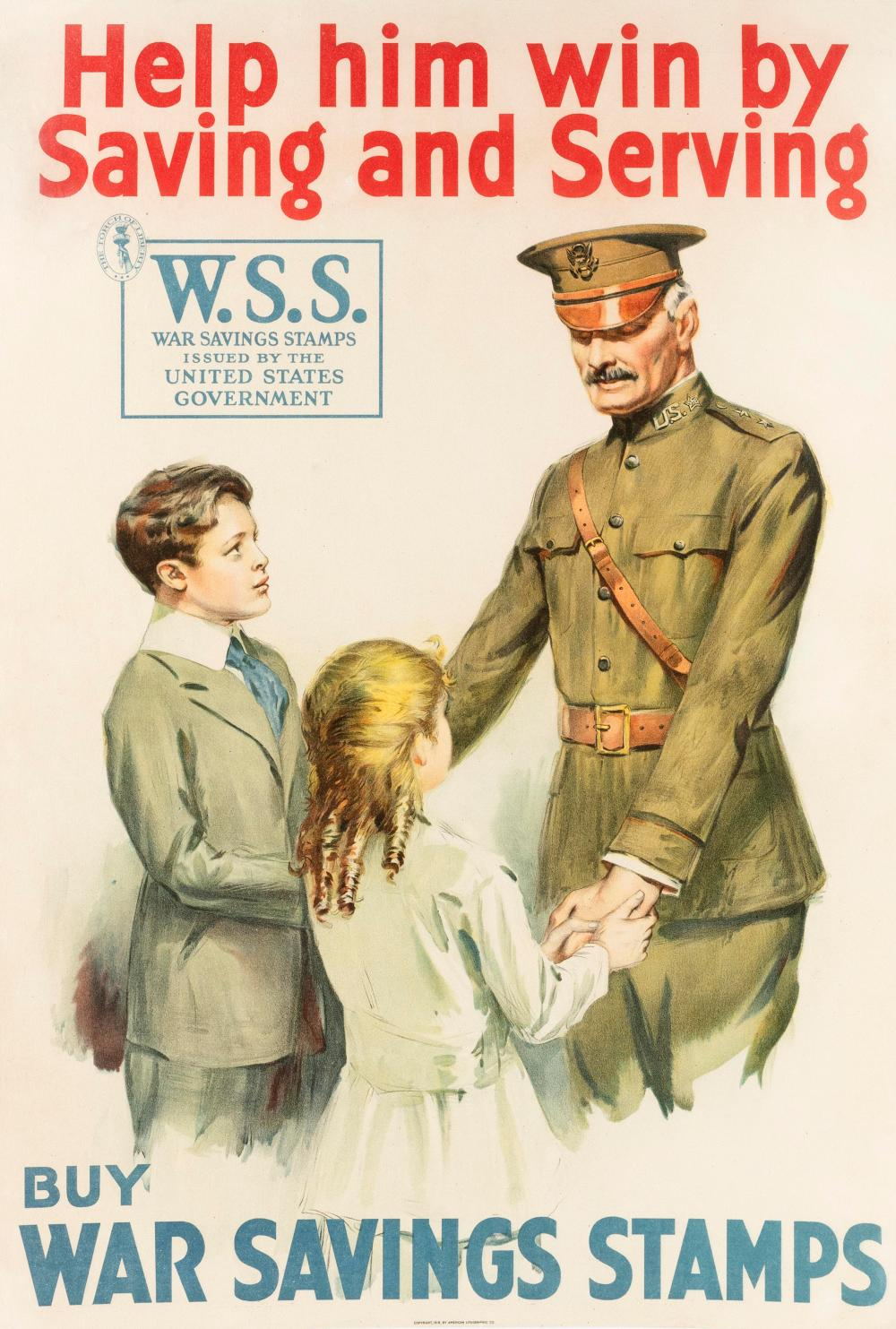 """""""HELP HIM WIN BY SAVING AND SERVING BUY WAR SAVINGS STAMPS"""" WORLD WAR I POSTER Published by the American Lithographic Co. Depicts a..."""