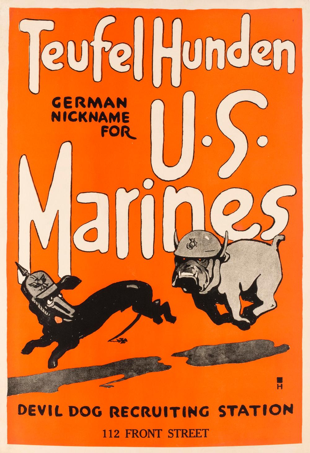 """TEUFEL HUNDEN GERMAN NICKNAME FOR U.S. MARINES DEVIL DOG RECRUITING STATION 112 FRONT STREET"" WORLD WAR I POSTER By Charles B. Fall..."
