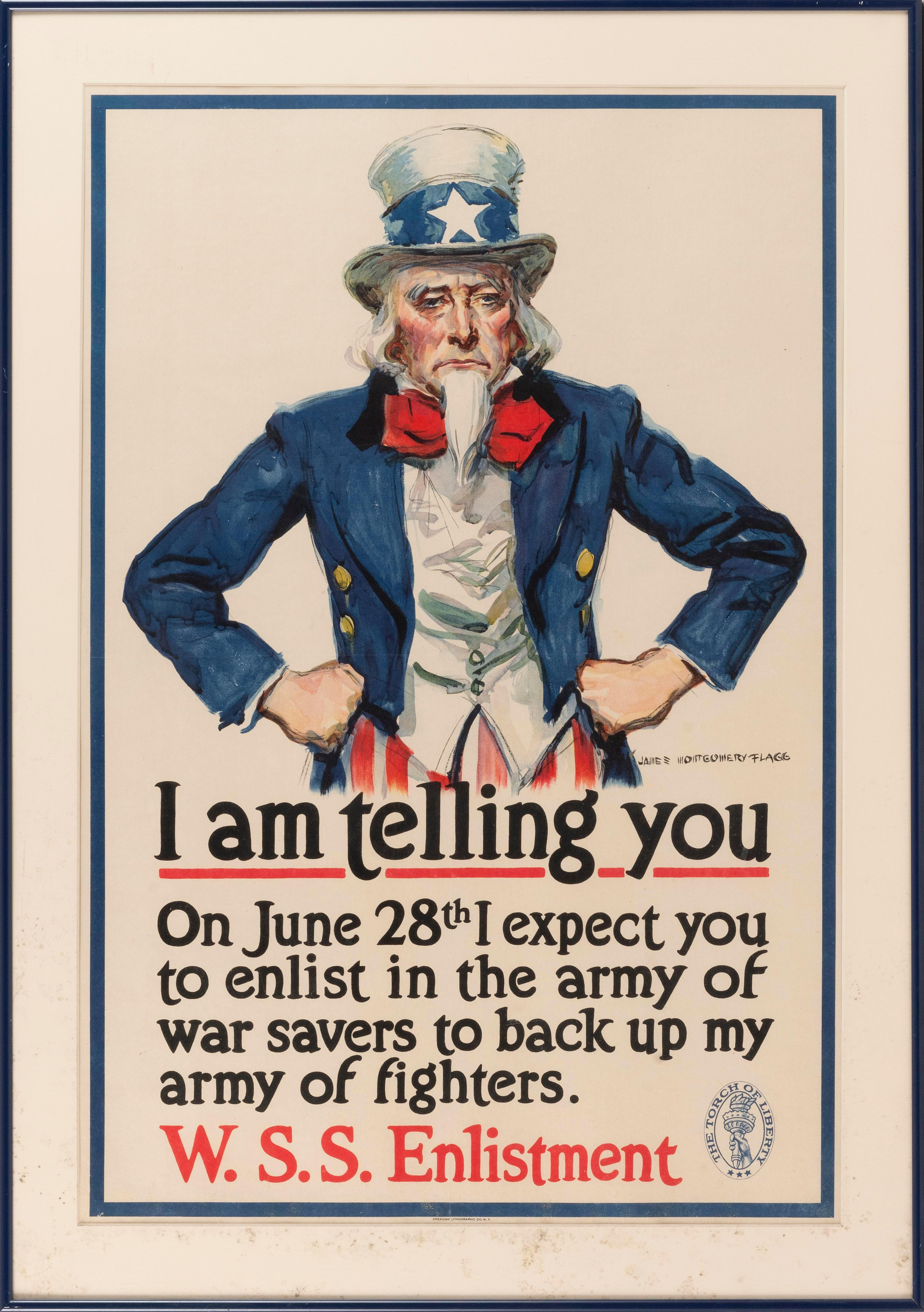 """I AM TELLING YOU ... "" WORLD WAR I POSTER By James Montgomery Flagg for W.S.S. Enlistment, published by the American Lithographic C..."