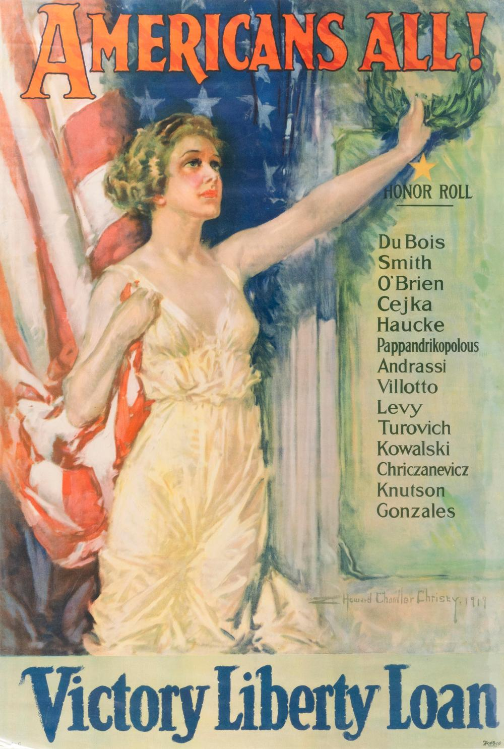 """""""AMERICANS ALL!"""" WORLD WAR I POSTER By Howard Chandler Christy for the Victory Liberty Loan, published by Forbes, Boston. Depicts an..."""