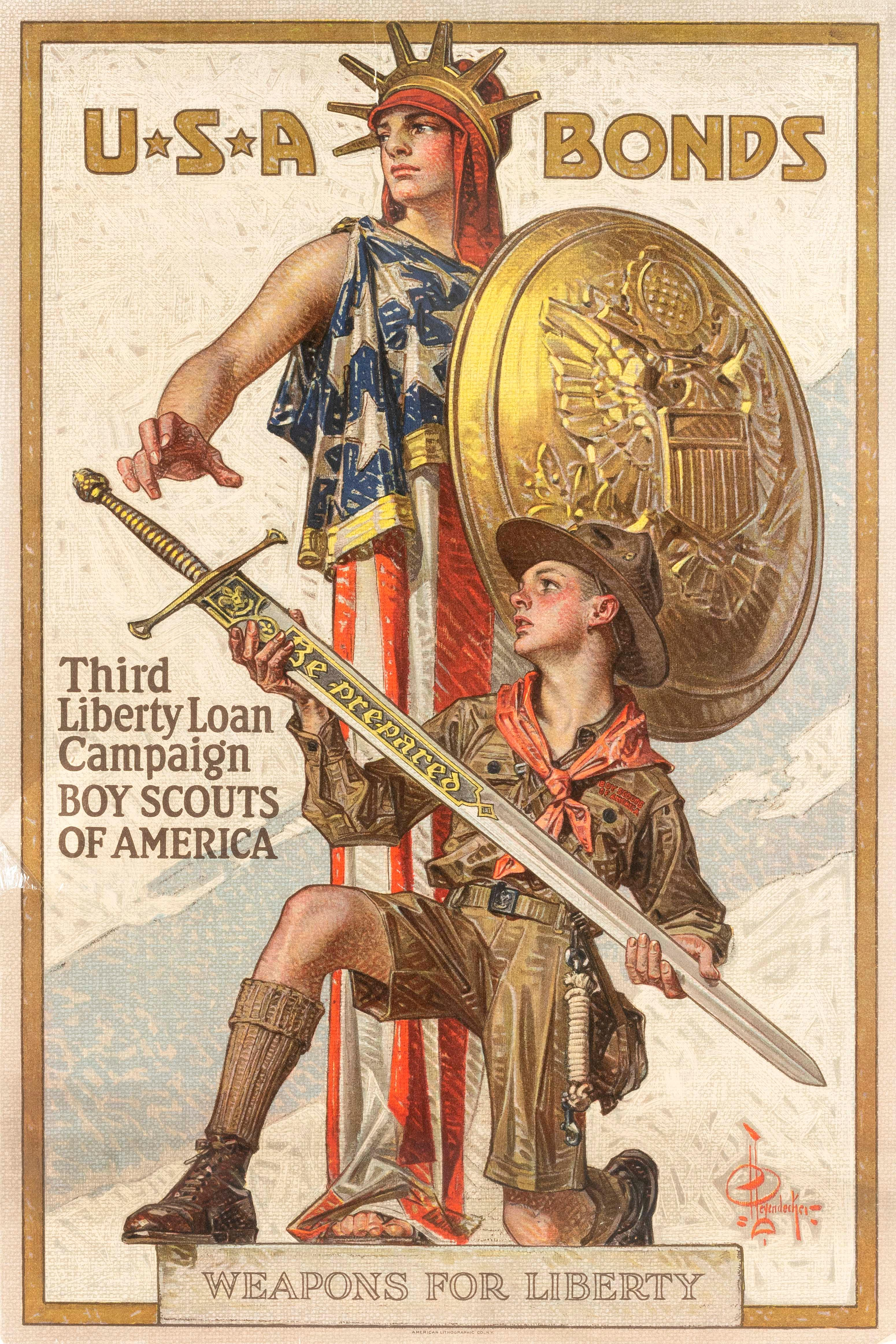 """""""U*S*A BONDS THIRD LIBERTY LOAN CAMPAIGN BOY SCOUTS OF AMERICA WEAPONS FOR LIBERTY"""" WORLD WAR I POSTER By Joseph Christian Leyendeck..."""