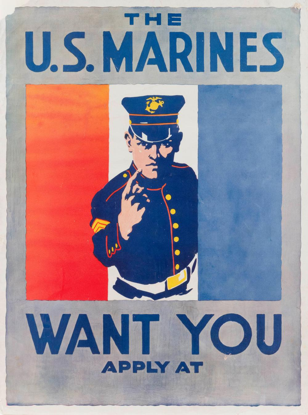 """THE U.S. MARINES WANT YOU"" WORLD WAR I POSTER By Charles B. Falls. Depicts a beckoning Marine in dress uniform against red, white a..."