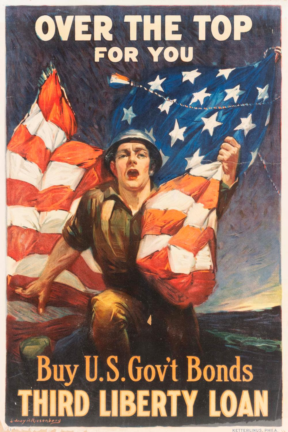 """""""OVER THE TOP FOR YOU BUY U.S. GOV'T BONDS"""" WORLD WAR I POSTER By Sidney H. Riesenberg for the Third Liberty Loan, published by Kett.."""