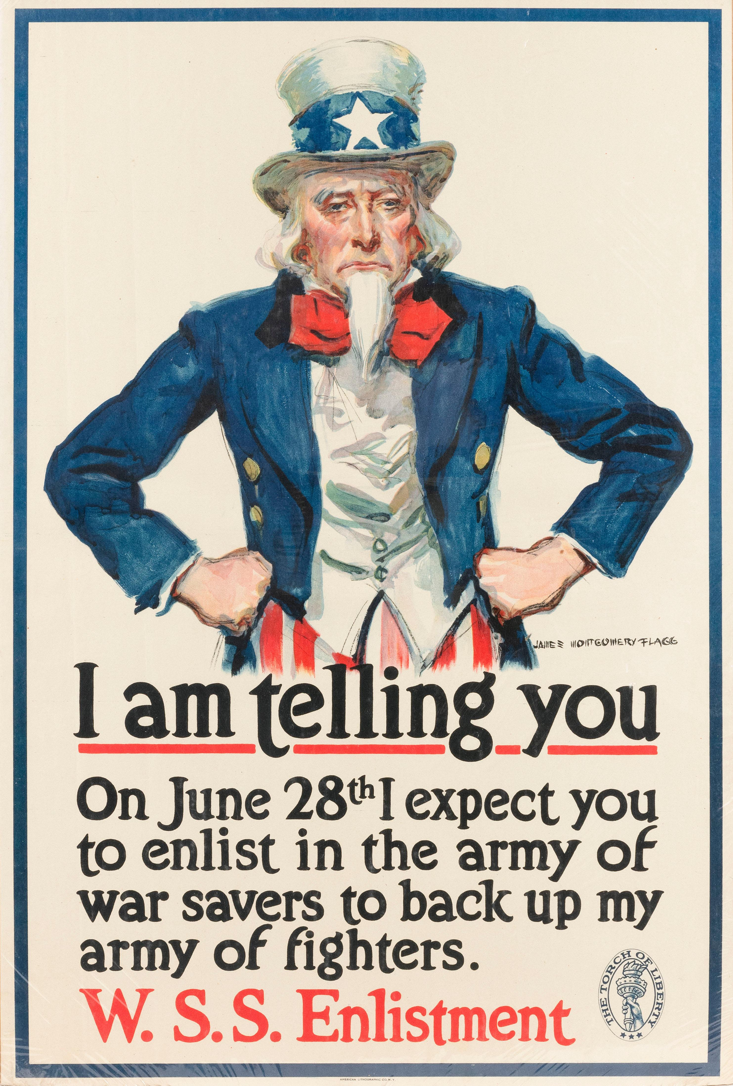 """""""I AM TELLING YOU ..."""" WORLD WAR I POSTER By James Montgomery Flagg for W.S.S. Enlistment, published by the American Lithographic Co..."""