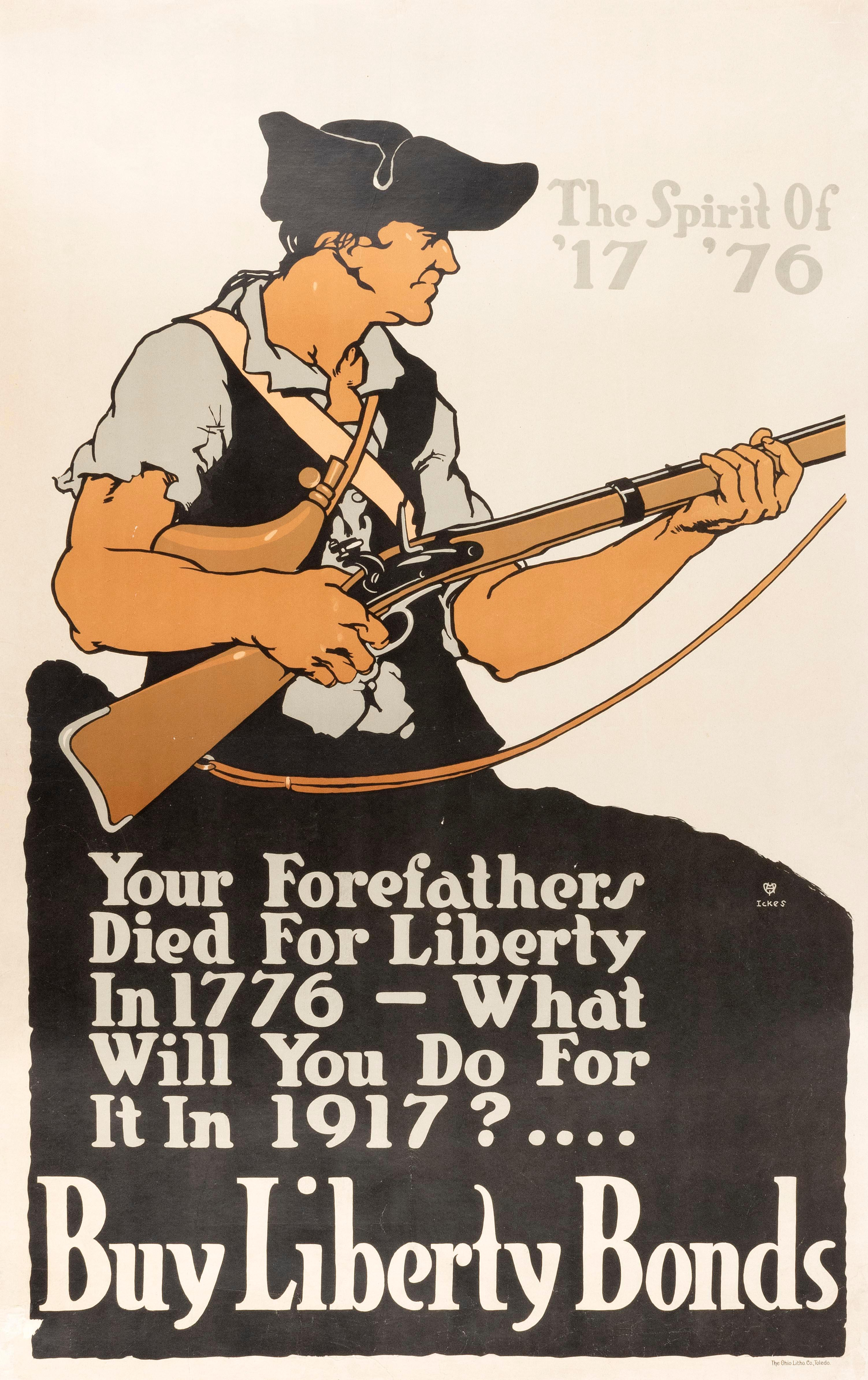 """""""YOUR FOREFATHERS DIED FOR LIBERTY IN 1776 - WHAT WILL YOU DO FOR IT IN 1917? .... BUY LIBERTY BONDS"""" WORLD WAR I POSTER For the Fir..."""