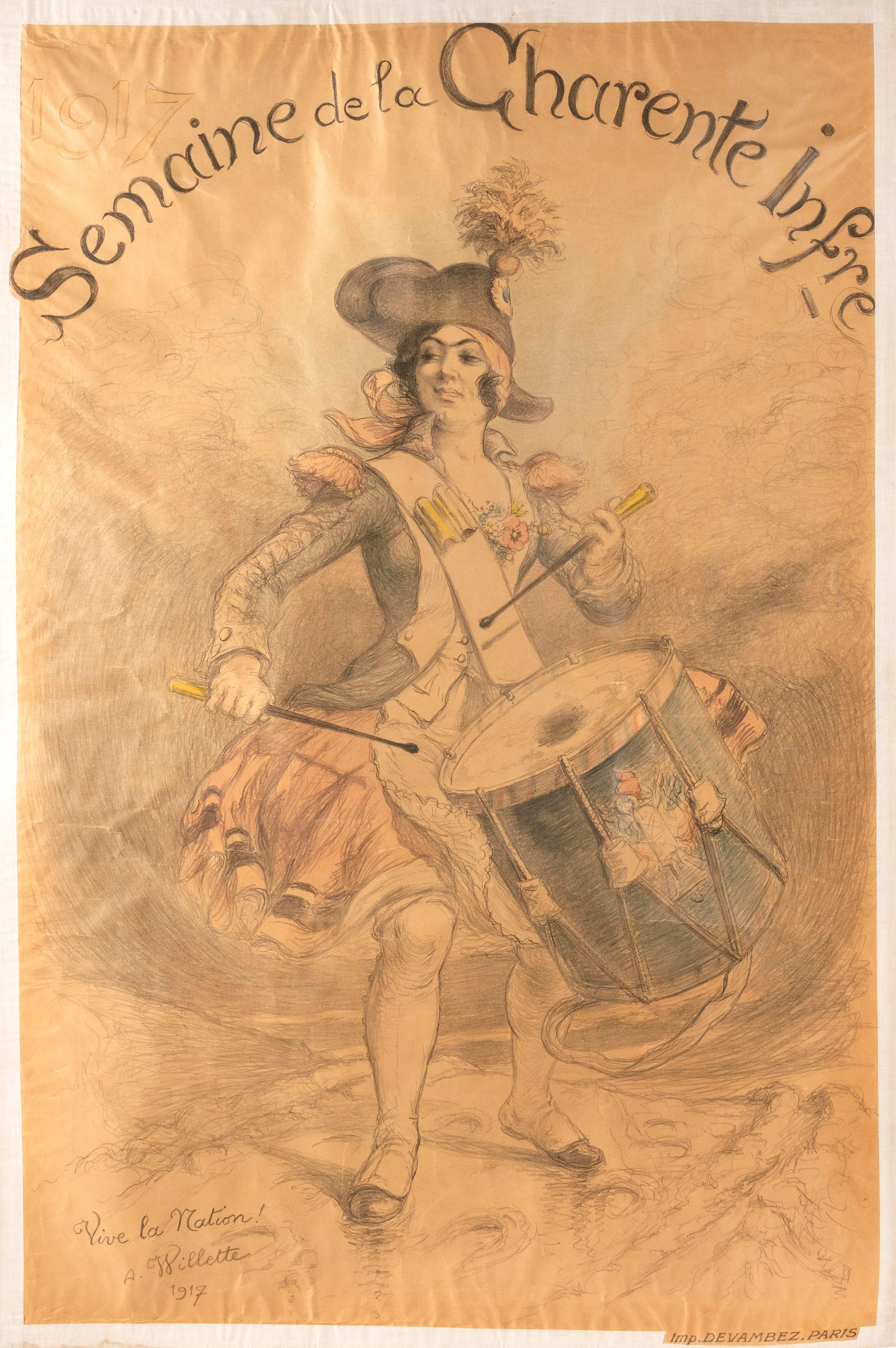 """""""1917 SEMAINE DE LA CHARENTE INFRE"""" WORLD WAR I POSTER By Adolphe Willette, published by Devambez, Paris. Depicts Marianne in French..."""