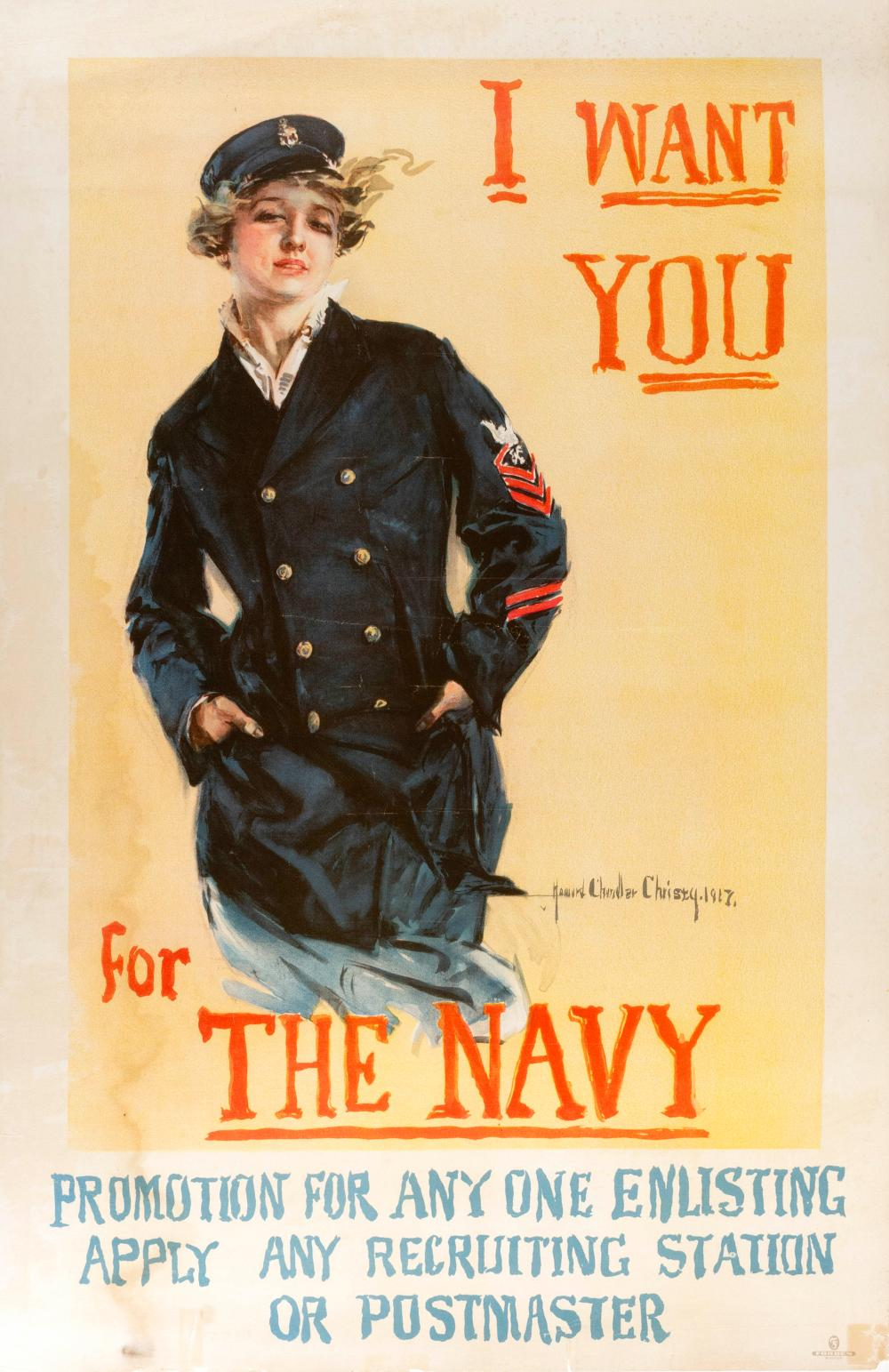 """""""I WANT YOU FOR THE NAVY ..."""" WORLD WAR I POSTER By Howard Chandler Christy, published by Forbes, Boston. Depicts a uniformed Wave a..."""