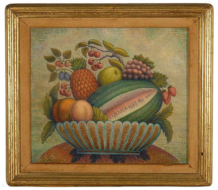 RODNEY LETHBRIDGE, American, b. 1891, Still life with fruit., Oil on board, 18½
