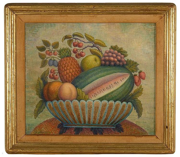 RODNEY LETHBRIDGE, American, b. 1891, Still life with fruit., Oil on board, 18½
