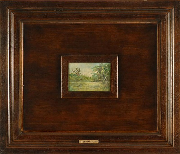 EDWARD TAYLOR SNOW, American, 1844-1913, Spring landscape., Oil on board, 5½