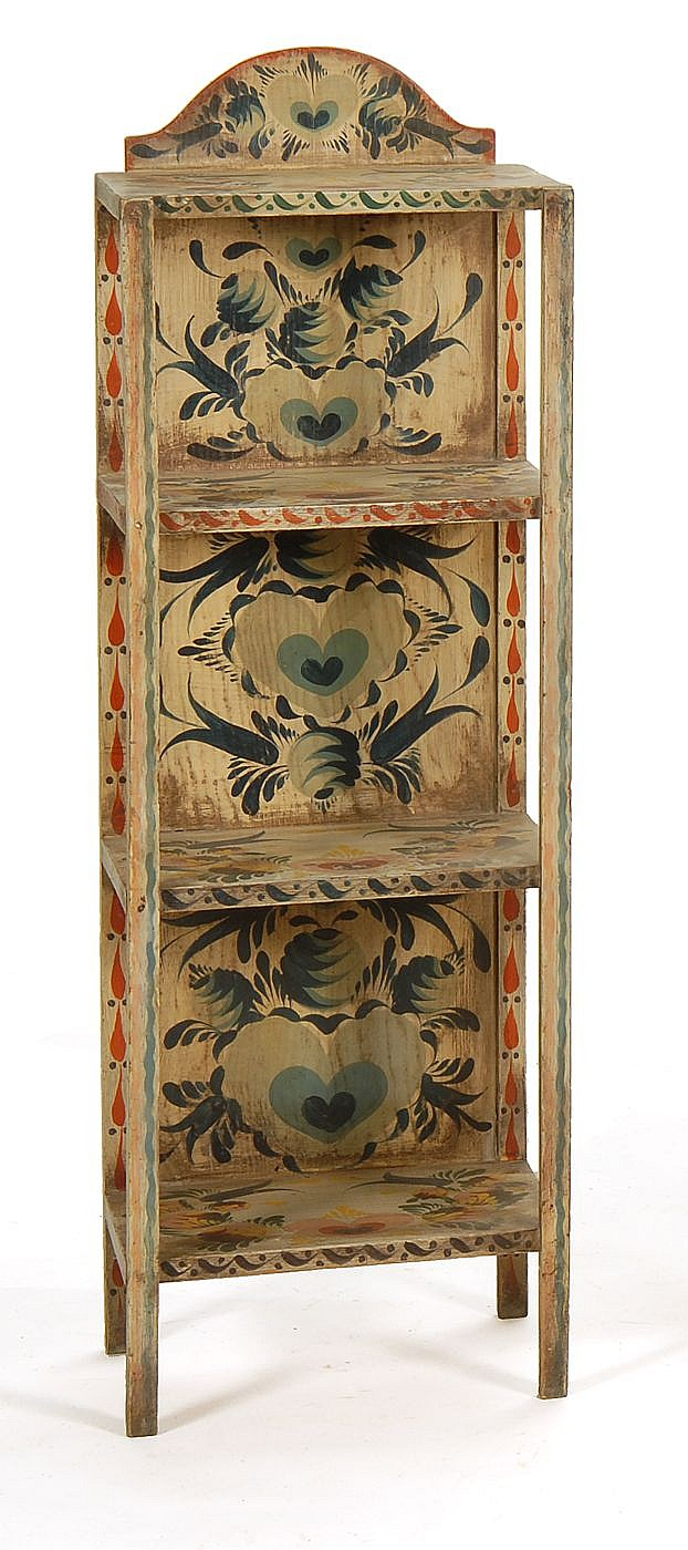 PETER HUNT-DECORATED THREE-SHELF ETAGERE With allover decoration of hearts and leaves. Signed