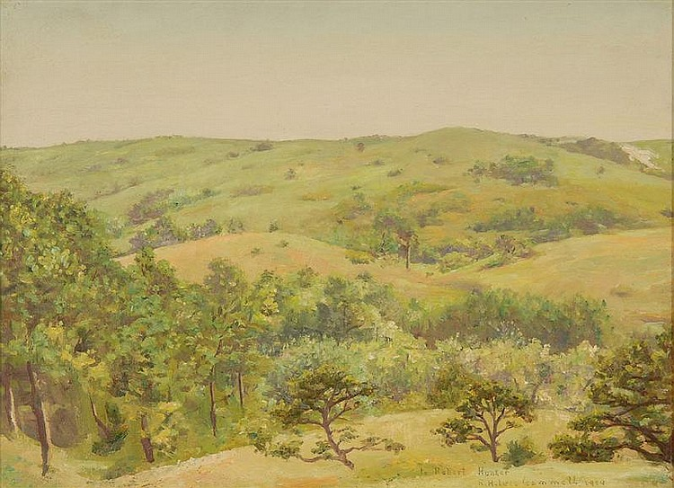 ROBERT HALE IVES GAMMELL, American, 1893-1981, Landscape with rolling hills., Oil on masonite, 11½
