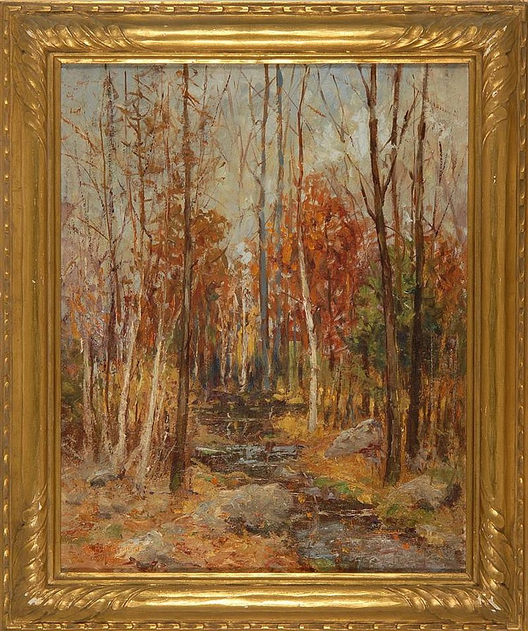 WILLIAM H. PARTRIDGE, American, 1858-1938, Fall landscape., Oil on canvas, 20