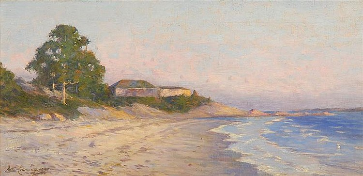 ARTHUR S. CUMMING, American, 1847-1913, Luminous New England coastal scene., Oil on canvas, 12