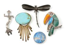 FIVE MODERNIST STERLING SILVER BROOCHES 1) Harry Spencer Navajo 12kt gold-filled sterling silver brooch with turquoise medallion and...