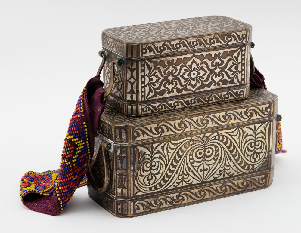 """TWO PHILIPPINE BRONZE BETEL NUT BOXES Possibly 16th Century Heights 3.25"""" and 4"""". Widths 6.25"""" and 8"""". Depths 3"""" and 3.75""""."""