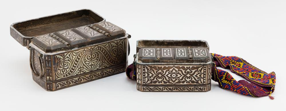 TWO PHILIPPINE BRONZE BETEL NUT BOXES Possibly 16th Century Heights 3.25