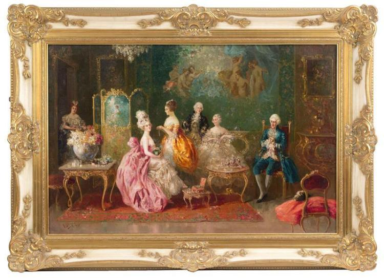 RAFFAELE ZELONI, Italian, 20th Century, Interior scene with figures in 18th Century dress., Oil on canvas, 23.75