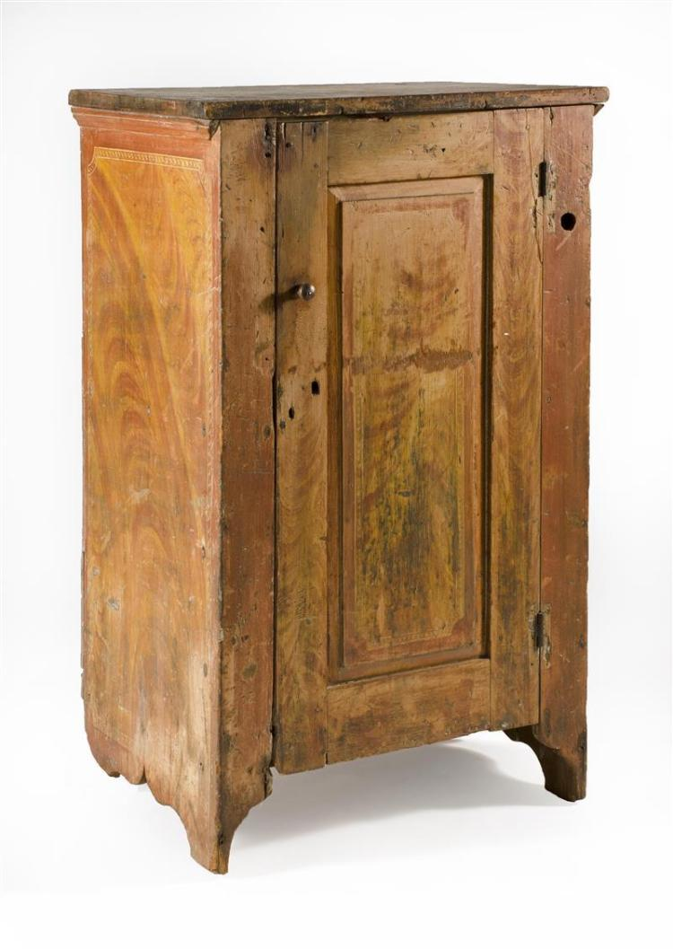 Antique American Cupboard In Pine Shows Remnants Of Red And