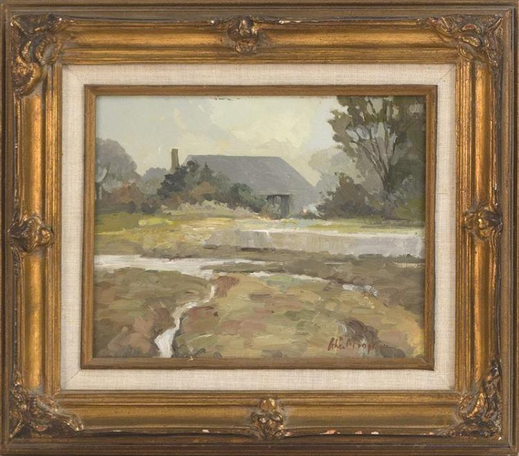 ALICE MONGEAU, Cape Cod, Contemporary, House fronted by a marsh., Oil on board, 10