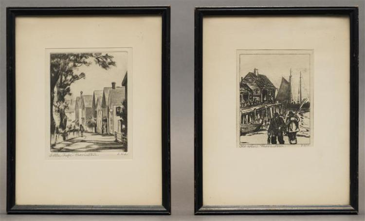 ELIZABETH LINDENMUTH, Massachusetts/Florida/Maine, 1886-1980, Two etchings:, Plate lines 4