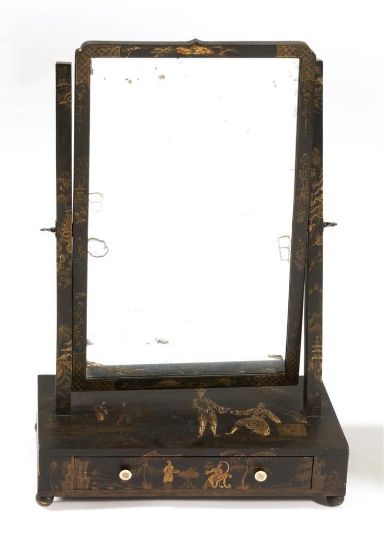 ANTIQUE ENGLISH SHAVING MIRROR WITH EBONIZED JAPANNED DECORATION Rectangular mirror with square supports. Rectangular base with sing...