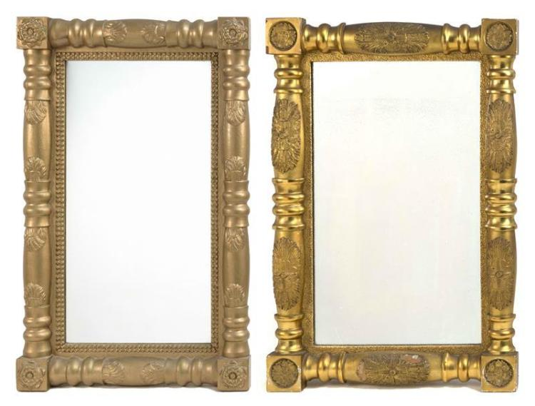 TWO HALF-COLUMN MIRRORS Both with floral decoration. 34
