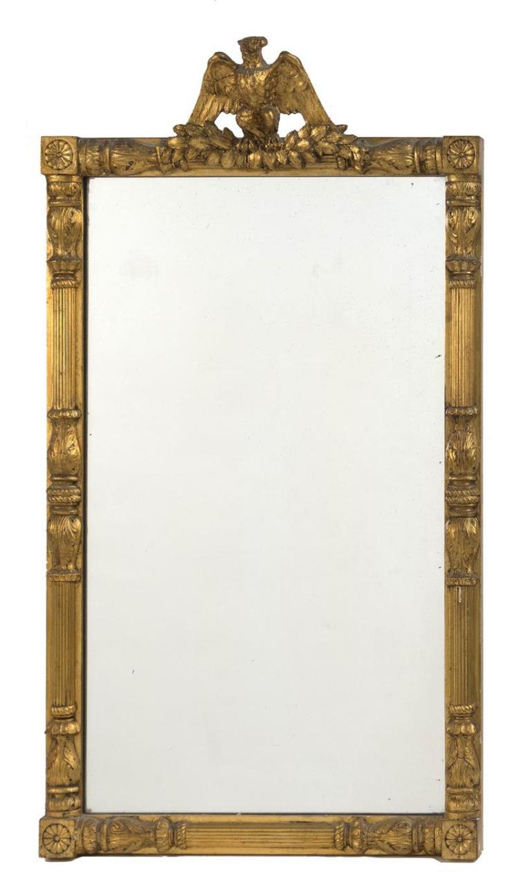 GILT MIRROR With eagle-form crest. Height 32