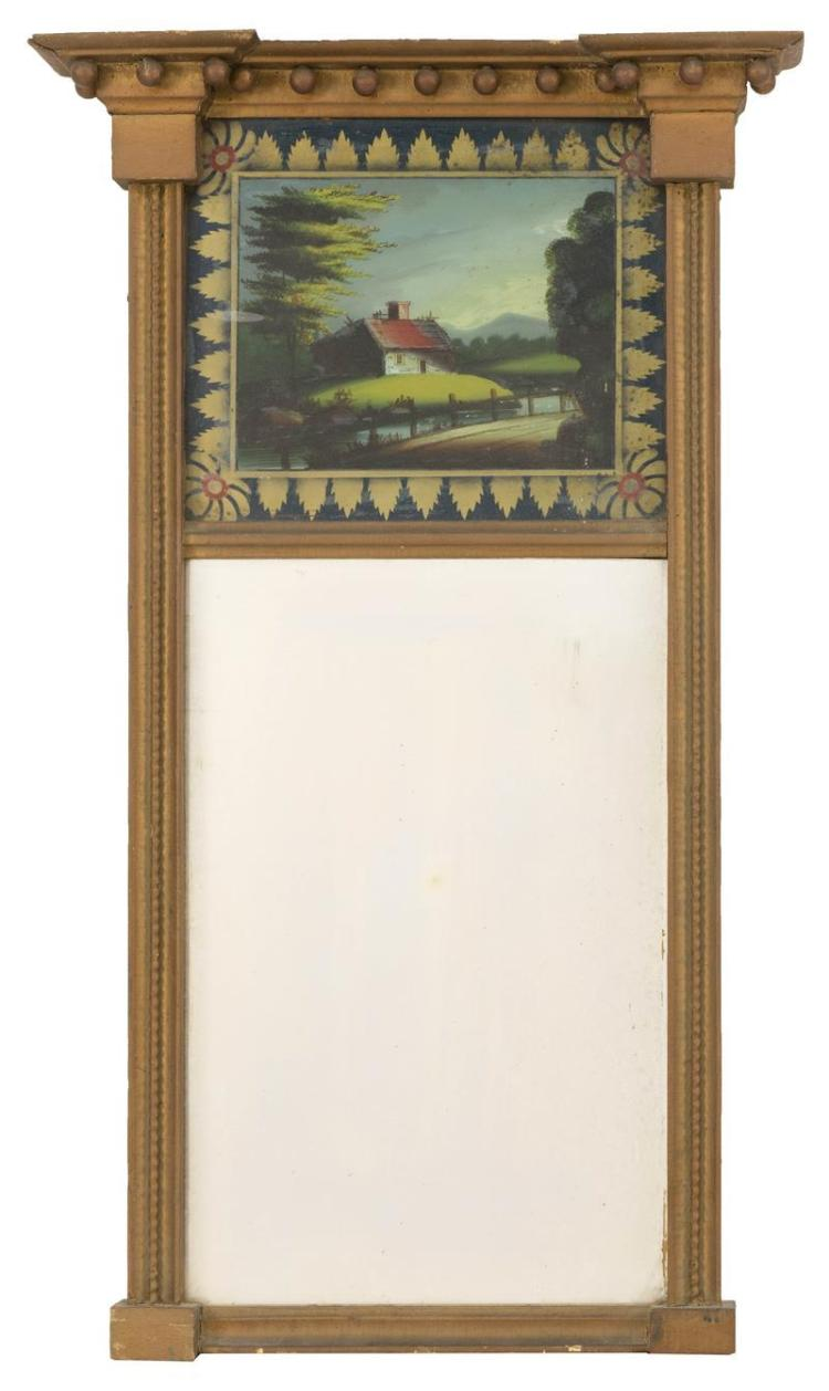 FEDERAL-STYLE MIRROR WITH REVERSE-PAINTED UPPER TABLET In gold paint. Upper tablet painted by Joshua Mayo Sears depicts a house in t...