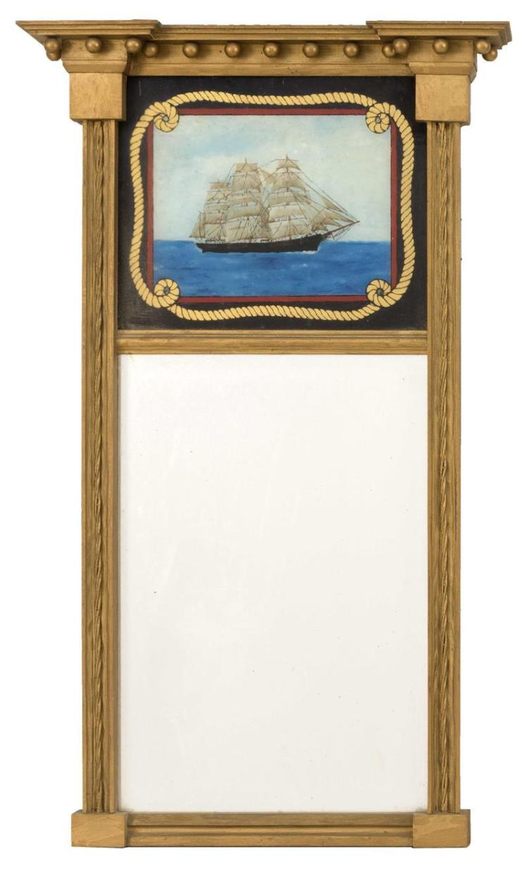 FEDERAL-STYLE MIRROR WITH REVERSE-PAINTED UPPER TABLET In gold paint. Upper tablet painted by Joshua Mayo Sears depicts a ship. Heig...