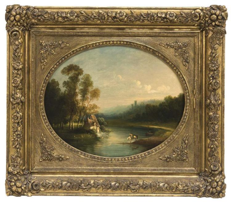FRAMED PAINTING Depicting a house on a winding river. Signed lower right