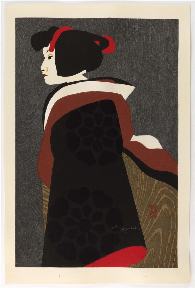 KIYOSHI SAITO Depicting a female figure facing left. Signed in pencil.