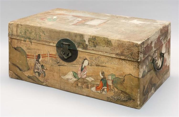CHINESE PAINTED PIGSKIN-COVERED CHEST With figural decoration. Height 10