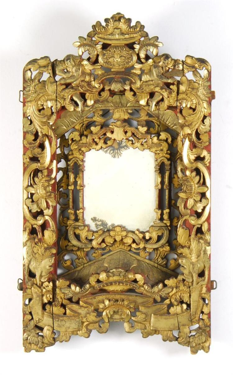 PAIR OF CHINESE RELIEF-CARVED PAINTED WOOD FRAMES In red with gilt finish. Mounted as mirrors. Heights 26.75
