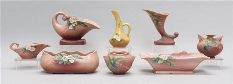 EIGHT PIECES OF ROSEVILLE POTTERY Five pieces in the